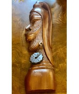 Vintage wall art large carved wood native with earring - $95.00