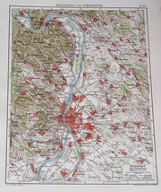 1924 ORIGINAL VINTAGE MAP OF VICINITY OF BUDAPEST / HUNGARY - $21.88