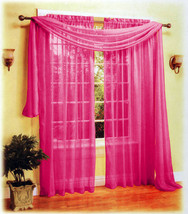 3 Pieces Sexy Sheer Voile Window Curtain Panels Scarf Set Hot Pink - $21.99
