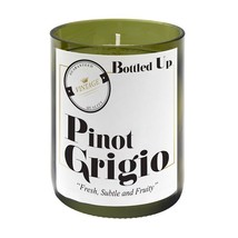 PINOT GRIGIO WINE SCENTED GLASS BOTTLE CANDLE 50 HOURS BURN TIME H10 X W... - $22.18