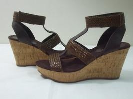 Nine West Women 8 M Shoes Brown Ankle Strap Closure Sandals Cork Platform Wedge  - $29.65