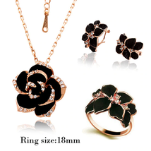 Fashion Rose Flower Enamel Jewelry Painting Bridal Jewelry Set (Rgoldbla... - $24.99
