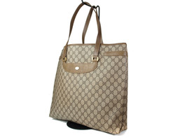 Auth GUCCI GG Pattern PVC Canvas Leather Browns Tote Bag GT15031L - $167.31