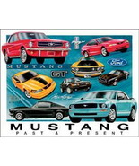 FORD Mustang Chronology Past & Present Collage Tin Sign - $5.94
