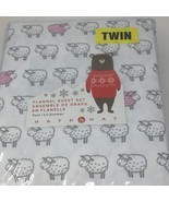 Nate and Nat Counting Sheep Pink Lamb on White Cotton Flannel Sheet Set ... - $67.00