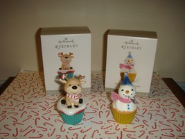 Hallmark 2~2016 Keepsake Cupcake Salty & Sweet & New Year's Snowman Orna... - $28.99