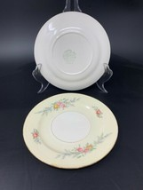 """2 Old Vintage Homer Laughlin 6-1/4"""" Bread & Butter Plate Pink Yellow Blue Flower - $12.30"""