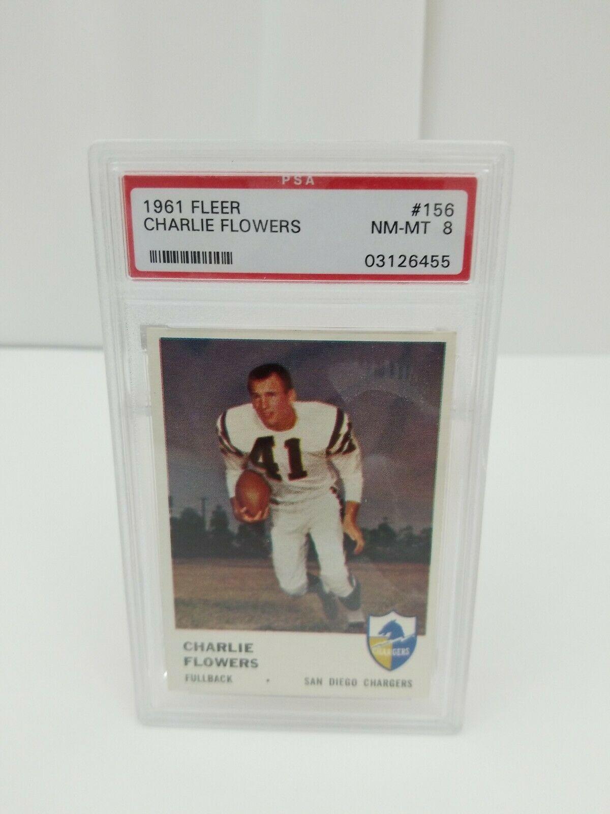 1961 Fleer Football Charlie Flowers #156 PSA 8 NM-MT San Diego Chargers Card