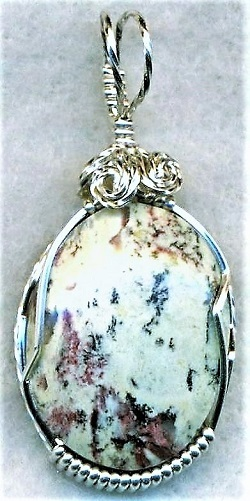 Cotton Candy Serpentine Silver Wire Wrap Pendant 41