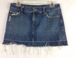 American Eagle Blue Jean Mini Skirt Distressed Size 2 Frayed Bottom  - $19.60