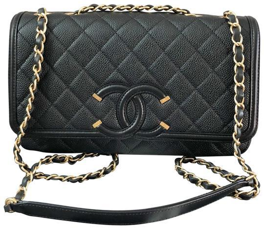 Authentic Chanel Classic Flap Caviar Quilted Large Filigree Flap Shoulder Bag