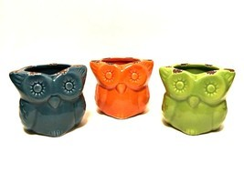 Colorful Owl Candle Holders Set of Three Blue Orange Green Ceramic 3 inc... - $9.89
