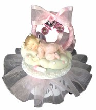 Baby Girl on a Cloud Christening Baby Shower Cake Top Decoration Centerp... - $24.74