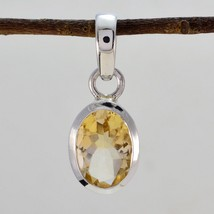 inviting Citrine 925 Sterling Silver Yellow Pendant genuine supply US gift - $12.86