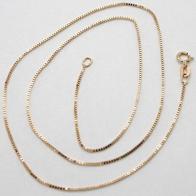 18K ROSE GOLD CHAIN MINI 0.8 MM VENETIAN SQUARE LINK 15.75 INCHES MADE IN ITALY