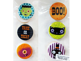 Halloween Metal Stickers, Set of 6, 1.5 Inches Round
