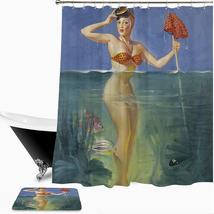 Sexy Woman 01 Shower Curtain Waterproof Polyester Fabric & Bath Mat For ... - $15.30+