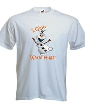 I Give Warm Hugs Olaf Snowman T-shirt Hug Funny T Shirt Personalized Par... - $9.95
