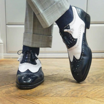 Handmade Men Blue & White Leather Wing Tip Heart Medallion Lace Up Oxford Shoes image 1