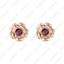 Rose Flower  Earring Red garnet 14k Rose God over . 925 Sterling Silver ... - $39.99
