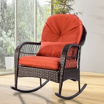 Outdoor Patio Rocking Chair Wicker Porch Rocker with Cushion Garden Furn... - $174.13