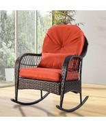 Outdoor Patio Rocking Chair Wicker Porch Rocker with Cushion Garden Furn... - £140.26 GBP