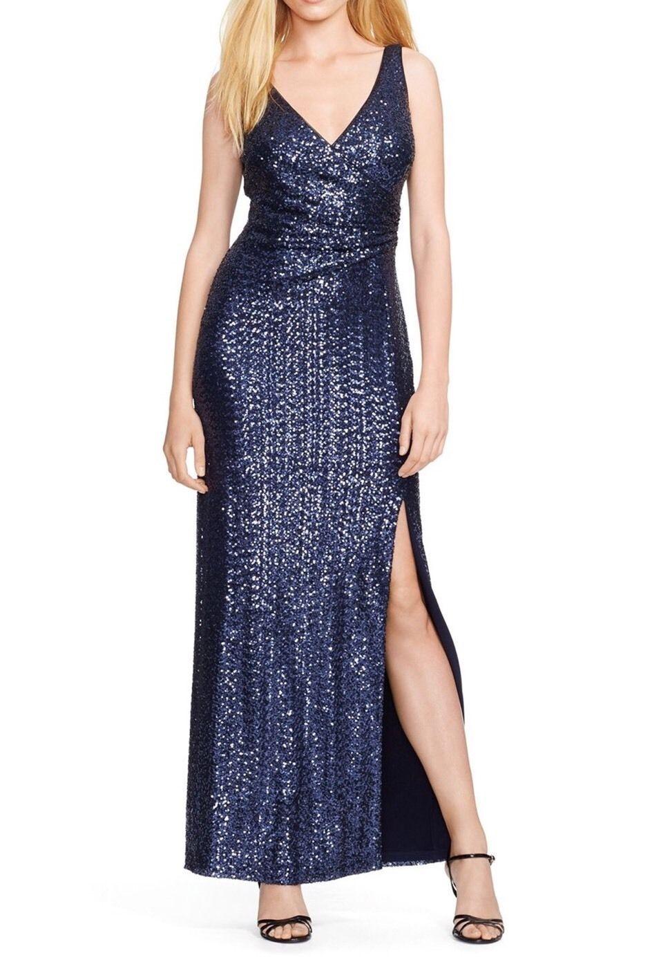 NWT Lauren Ralph Lauren Size 2 Petite Navy Sequin Mesh Evening Gown ...