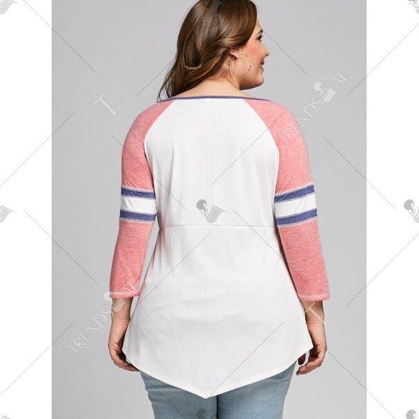Ladies Plus Size Raglan Sleeve Empire Waist T-Shirt 2XL 3XL 4XL 5XL