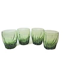 Set of 4 Small Vintage Green Swirl Beverage Glasses tumblers  - $29.02