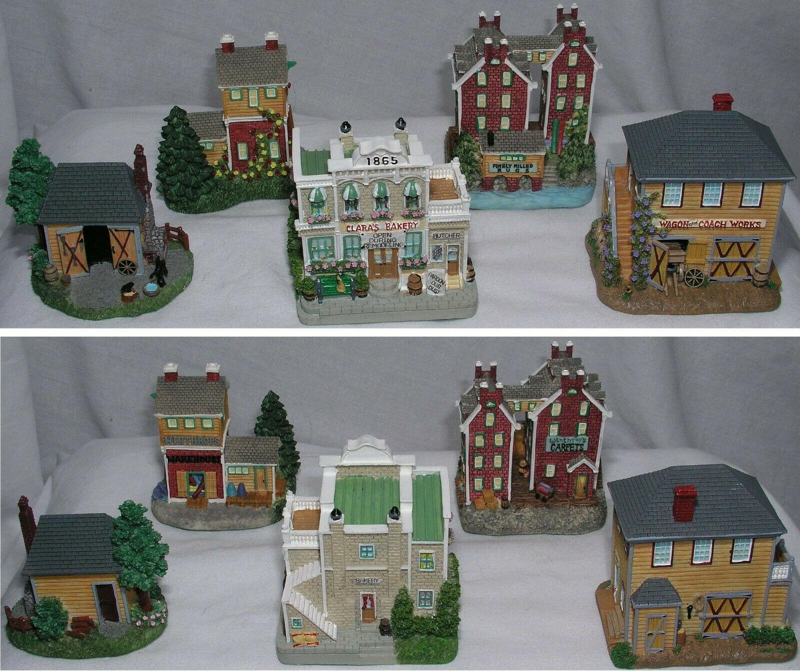 Liberty Falls Mini Porcelain 5 Buildings Bakery Wagon Workshop Carpet Mill Mint