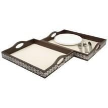 La Vie Parisienne Wood Serving Tray Set of 2 Brown / Silver  - €32,94 EUR