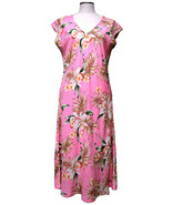 Knee Length Rayon Classic Orchids Hawaiian Print Dress/Easter/Spring/Sum... - $64.95