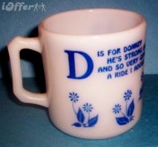 "HAZEL ATLAS GLASS- KIDDIE WARE ALPHABET ""D IS FOR  DONKEY"" MILK MUG - $37.45"