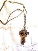 Vintage Reproduction Antique Brass Celtic Cross Watch Necklace - $44.55