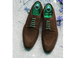 Handmade Men's Brown Suede Lace Up Dress/Formal Oxford Shoes image 3