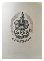 Ex Libris Exlibris Bookplate Grabado Sobre Madera Carlos Collet 1948 Floral - $29.69