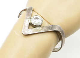 MEXICO 925 Silver - Vintage Cubic Zirconia Pointed Cuff Bracelet - B6557 - $56.62