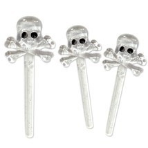 Halloween Clear Skull & Bone Festive Cupcake Appetizer Toppers Picks Par... - $89,57 MXN+