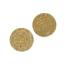 Phaistos Disc Knossos Earrings Silver Sterling 925 Gold Plated Greek Han... - $44.91
