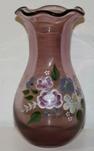 """Fenton Glass 8"""" Ruffled Amethyst Purple Vase with Hand Painted Flowers - $19.79"""