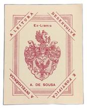 Ex Libris Exlibris Bookplate A. De Sousa A Leitura Desenvolve Pink Book ... - $29.69