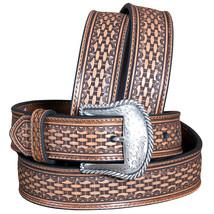 "U-8-38 38"" Nocona Basketweave Tooled Leather Mens Belt W/ Engraved Buckle Tan - $36.95"