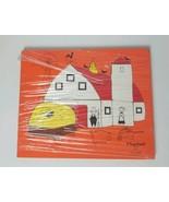 Vintage Playskool Wooden 15 pc Puzzle of Farm Barn Silo  - $25.23