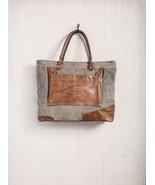 Mona B Dakota Recycled Canvas+Leather Bag, Large Bag, Zips Closed, Pocke... - $65.99
