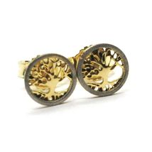 18K YELLOW & WHITE GOLD, MINI 7 MM, ROUND EARRINGS BEAUTIFUL TREE OF LIFE image 5