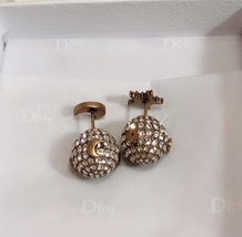 """Authentic Christian Dior Tribal Earrings """"DIOR TRIBALES"""" Crystal Moon Star Gold image 5"""