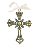 Decorative Cross Ornament Blue Swirled Paint and Rhinestones - $10.95
