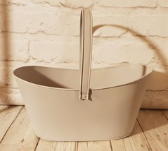 Grey Trough Bulb Plant Pot Holder Container Metal with Handle Home Garde... - $7.89