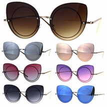 Womens Gradient Hippie Cat Eye Flat Color Lens Groovy Sunglasses - $12.95