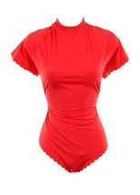 J Crew Scalloped Short-Sleeve One-Piece Swimsuit in Italian Matte 14 G5107 Red - $45.99